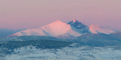 Longs Peak Alpenglow In Winter Print by Aaron Spong