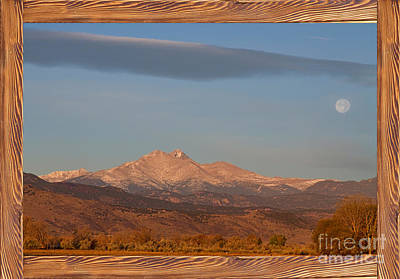 Picture Window Frame Photos Art Photograph - Longs Peak Full Moon Rustic Wood Picture Window Frame View by James BO  Insogna