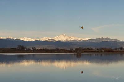 Longs Peak Hot Air Balloon Print by Aaron Spong