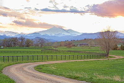Longs Peak Springtime Sunset View  Print by James BO  Insogna