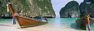 Ko Photograph - Longtail Boats Moored On The Beach by Panoramic Images