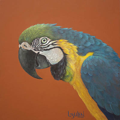 Blue And Gold Macaw Painting - Look At Me Lookin' At You by Lorraine Ulen