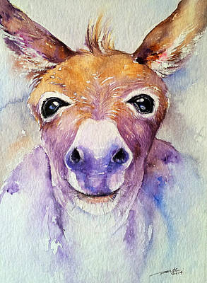 Donkey Watercolor Painting - Look Into My Eyes by Arti Chauhan