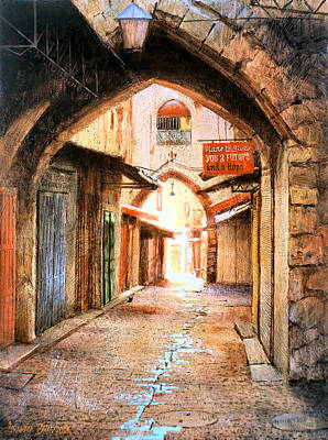 Archways Painting - Look Who Is Coming by Graham Braddock