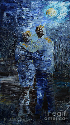 Figurative Painting - Looking At The Moon by Roni Ruth Palmer