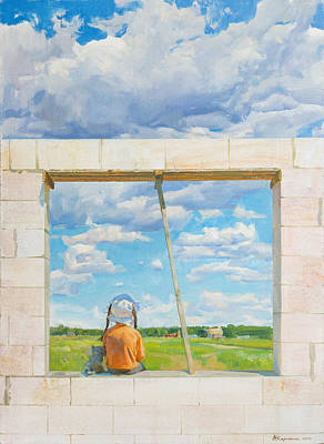 Construction Painting - Looking At The World by Victoria Kharchenko