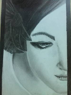 Sad Girl Drawing Drawing - Looking Away by Merve  Saglar