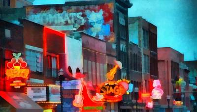 Looking Down Broadway In Nashville Tennessee Print by Dan Sproul