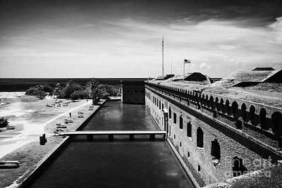 Looking Down From Basion Walls Over Moat Sally Dock Entrance To Fort Jefferson Dry Tortugas National Print by Joe Fox