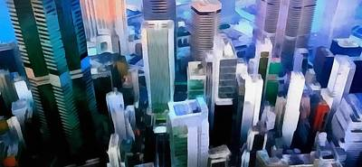 Helicopter Painting - Looking Down On Chicago by Dan Sproul