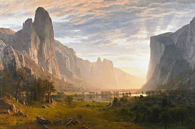 Yosemite National Park Painting - Looking Down Yosemite Valley California by Albert Bierstadt
