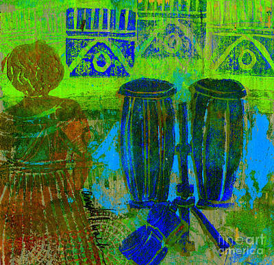 Printmaking Mixed Media - Looking For The Drummer by Angela L Walker