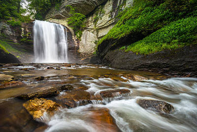 Looking Glass Falls - North Carolina Blue Ridge Waterfalls Wnc Print by Dave Allen