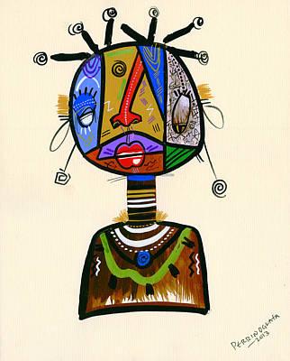 Contemporary Tribal Art Painting - Looking Good Like My Maid by Oglafa Ebitari Perrin