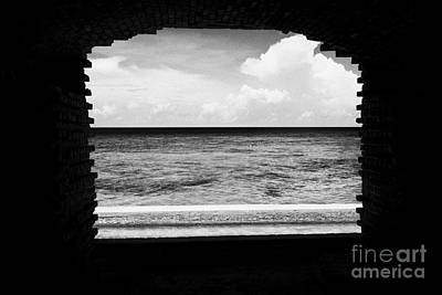 Looking Out Of Brick Archway Towards The Outer Wall And Sea Fort Jefferson Dry Tortugas National Par Print by Joe Fox