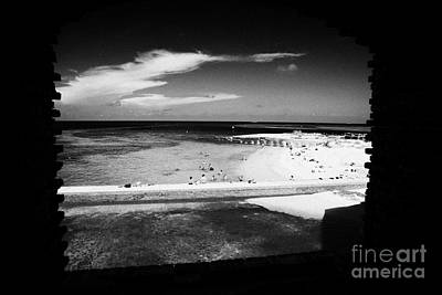 Looking Out Of Brick Archway Towards Tourists On The Beach Fort Jefferson Dry Tortugas National Park Print by Joe Fox
