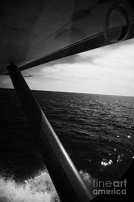 Looking Out Of Seaplane Window Taking Off On Water Dry Tortugas Florida Keys Usa Print by Joe Fox