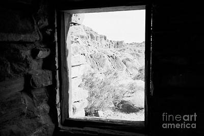 Cabin Window Photograph - Looking Out Through Window From Interior Of Historic Stone Cabin Built By The Civilian Conservation  by Joe Fox