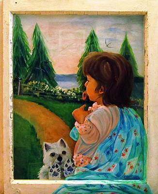 Dog In Lake Painting - Looking Outward by Carol Allen Anfinsen