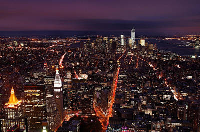 Looking South On Nyc New York City Skyline From The Empire State Building Observation Deck Print by Silvio Ligutti