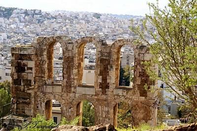 Athens Ruins Photograph - Looking Through An Ancient Window by Patricia Twardzik