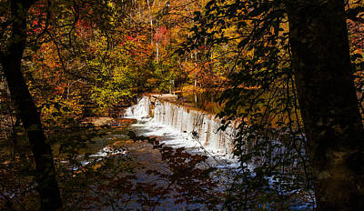 Looking Through Autumn Trees On To Waterfalls Fine Art Prints As Gift For The Holidays  Print by Jerry Cowart