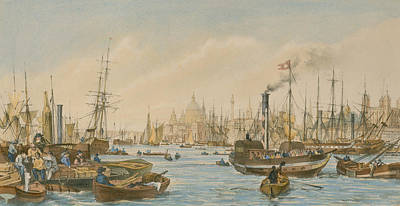 Tower Of London Painting - Looking Towards London Bridge by William Parrot