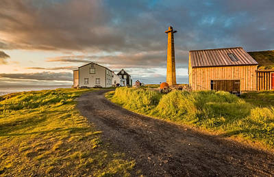 Lookout Tower And Homes, Flatey Island Print by Panoramic Images
