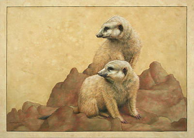 Meerkat Drawing - Lookouts by James W Johnson
