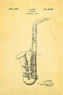 Saxophones Photograph - Loomis Saxophone Patent Art 1937 by Ian Monk