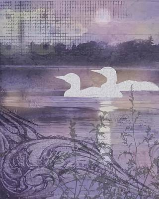 Loon Digital Art - Loon Collage by Sharon Marcella Marston