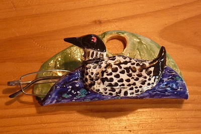Customclaycritters Sculpture - Loon Eyeglass Holder Handmade From A Lump Of Clay  by Debbie Limoli