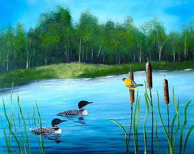 Loons In A Lake Original by Kevin  Brown