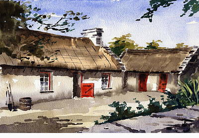 Clare Painting - Loophead Cottages by Val Byrne