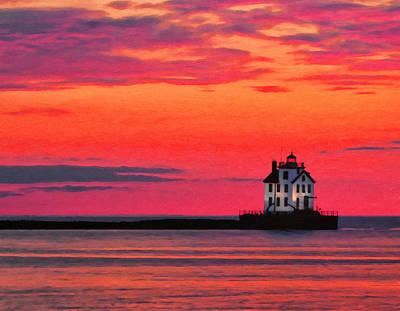 Lorain Lighthouse At Sunset Print by Michael Pickett