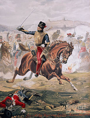 Charging Painting - Lord Cardigan Leading The Charge Of The Light Brigade At The Battle Of Balaklava by Henry A Payne