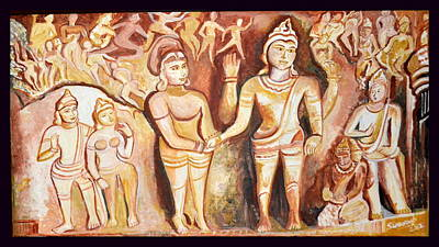 Lord Buddha Painting - Lord Siva's Marriage  by Anand Swaroop Manchiraju
