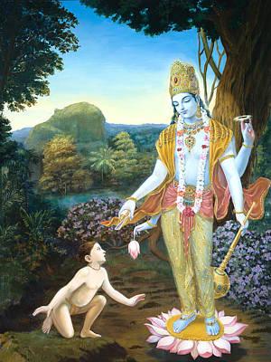 Lord Vishnu Apprears To Dhruva Print by Dominique Amendola