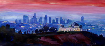 Los Angeles At Dusk With Griffith Observatory  Original by M Bleichner