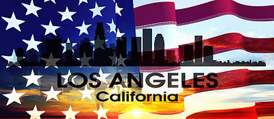 Los Angeles Ca Patriotic Large Cityscape Print by Angelina Vick