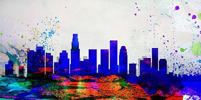 Los Angeles Skyline Painting - Los Angeles City Skyline by Naxart Studio