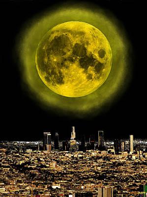 Los Angeles Skyline Painting - Los Angeles Full Moon by Daniel Janda