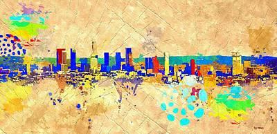 Los Angeles Skyline Painting - Los Angeles Grunge by Daniel Janda