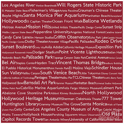 Venice Beach Digital Art - Los Angeles In Words Red by Sabine Jacobs