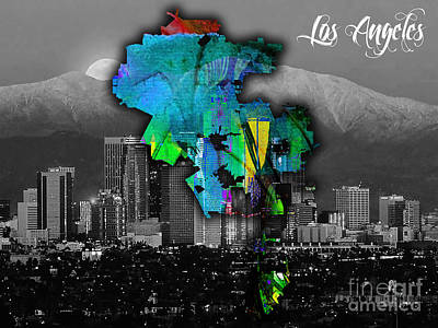 Los Angeles Map And Skyline Watercolor Print by Marvin Blaine