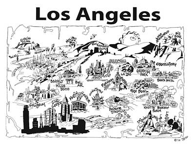 Beverly Hills Drawing - Los Angeles' Points If Interest by Robert Tiritilli