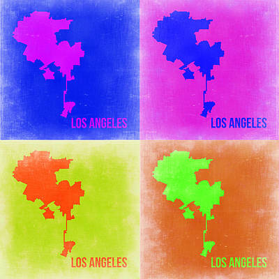 Los Angeles Map Painting - Los Angeles Pop Art Map 2 by Naxart Studio