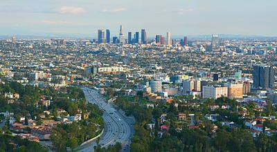 Los Angeles Skyline Photograph - Los Angeles Skyline And Los Angeles Basin Panorama by Ram Vasudev