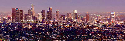 Los Angeles Skyline At Dusk Print by Jon Holiday