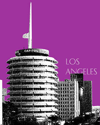 Los Angeles Skyline Capitol Records - Plum Print by DB Artist